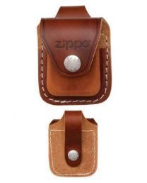 Brown Leather Zippo Lighter Pouch with Loop - Zippo LPLB