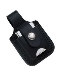 Black Leather Zippo Lighter Pouch with Thumb Notch - Zippo LPTBK