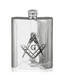 English Pewter Company 6oz Masonic Hip Flask