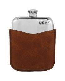 6oz Polished Pewter Purse Flask & Brown Leather Pouch