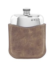 6oz Polished Pewter Purse Flask & Leather Pouch