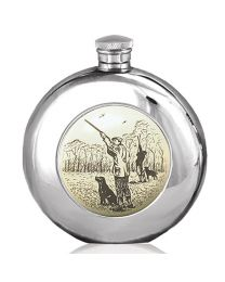 6oz Scrimshaw Style Shooting Round Hip Flask in Pewter