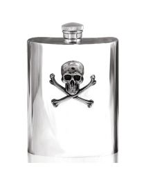 6oz Poison Skull Hip Flask in Pewter with Skull Emblem