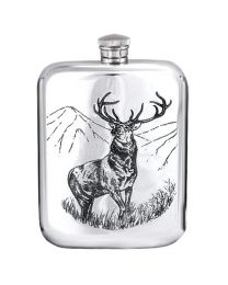 6oz Stag Purse Hip Flask in Pewter