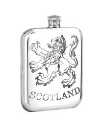 English Pewter Co. 6oz Rampant Lion Scotland Hip Flask
