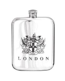 English Pewter Co. 6oz London Coat Of Arms Hip Flask